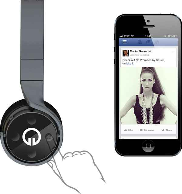 Muzik Socially Connected Smart Headphones