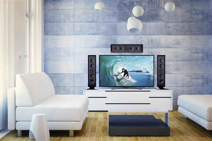 Sofa in modern 3d rendered interior with hd television