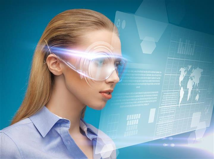 businesswoman with virtual glasses