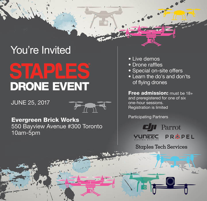Staples Drone Event, June 25 at Evergreen Brick Works in Toronto